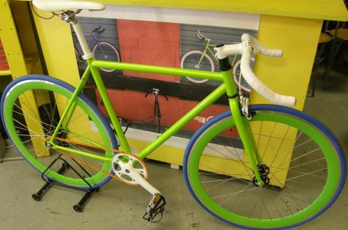 Green works on fixie